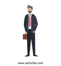 young businessman with portfolio character