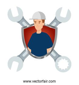 builder worker with helmet and wrenches in shield
