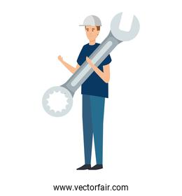 builder worker with helmet and wrench