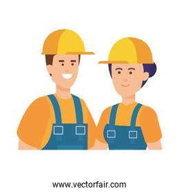 couple builders workers with helmets