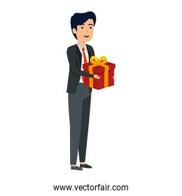 young businessman with gift box