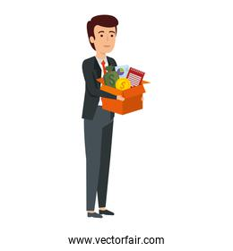 young businessman with box business items