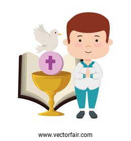 smiling boy with bible and chalice first communion