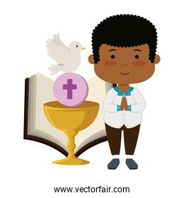 little black boy with bible and chalice first communion
