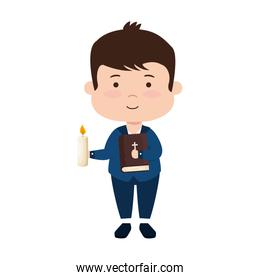 little boy with bibble and candle first communion character