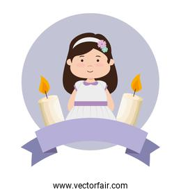 little girl with ribbon and candles first communion
