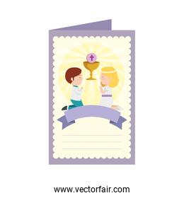 postcard with kids first communion