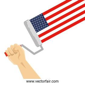 hand using paint roller painting usa flag