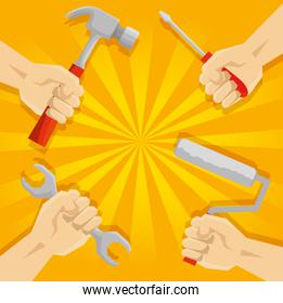 hands teamwork with tools