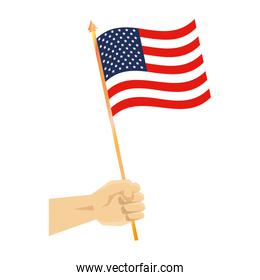hand with united states of america flag