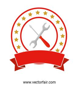 wrench and screwdriver tools emblem