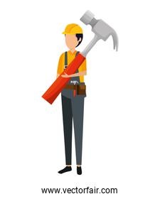 builder worker with helmet and hammer