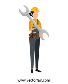female builder worker with helmet and wrench