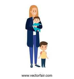 young mother with baby and son characters