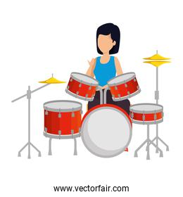 woman playing battery drums