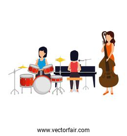 women orchest playing musical instruments characters