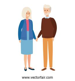 cute grand parents couple characters