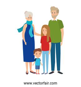 cute grandparents couple with grandson and grandaughter