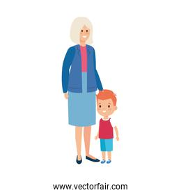cute grandmother with grandson