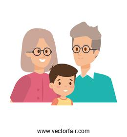 cute grand parents couple with grandson