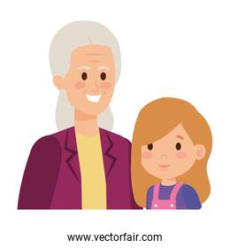 cute grandmother with grandaughter