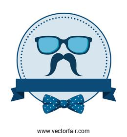 eyeglasses and mustache with bowtie circular frame