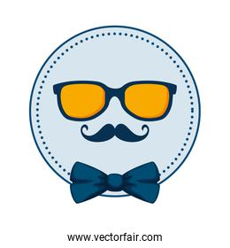 sunglasses and mustache with bowtie circular frame