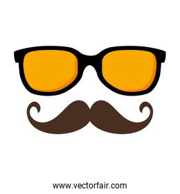 sunglasses and mustache hipster style