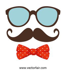 eyeglasses and mustache with bowtie hipster style