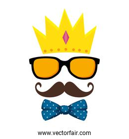 sunglasses and mustache with bowtie and crown hipster style