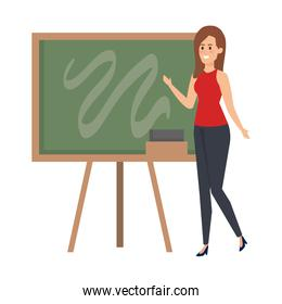 young teacher female with chalkboard