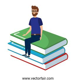 young teacher male sitting in books character