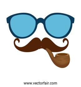 sunglasses and mustache with pipe wooden hipster style
