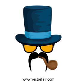 eyeglasses and mustache with tophat hipster style