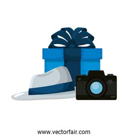 giftbox and camera with elegant hat