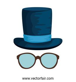 eyeglasses with tophat hipster style over white