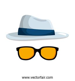 summer sunglasses with elegant hat