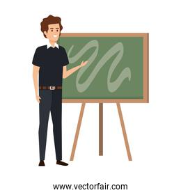 young teacher male with chalkboard character