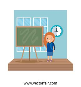 little girl student in the classroom