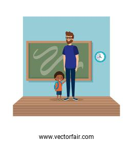 teacher male with schoolboy in classroom