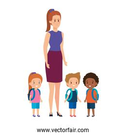 young teacher female with little students