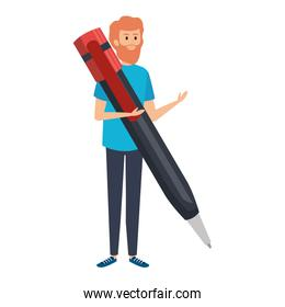 teacher male with big pen character