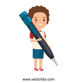 little boy student with pen