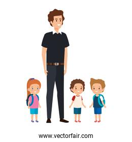 young teacher male with little students