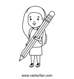 little girl student with pencil