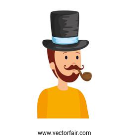 gentleman with elegant hat and pipe wooden