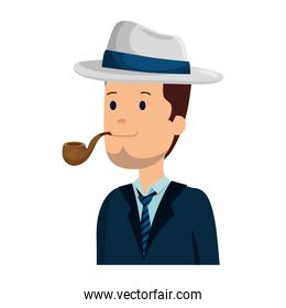 smiling gentleman with elegant hat and pipe wooden