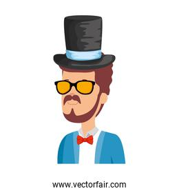 hipster man with sunglasses and elegant hat