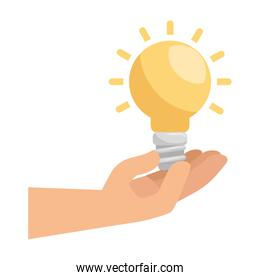 hand with saver bulb and ecology icons