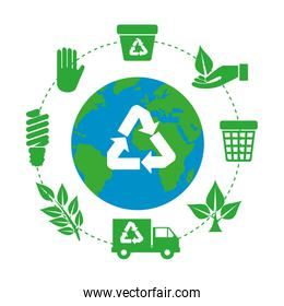 earth planet with recycle arrows and ecology icons